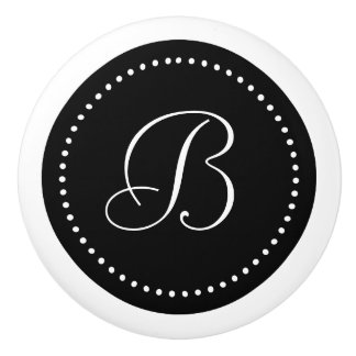 Monogram Black with Dots, Script Font Ceramic Knob