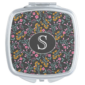Monogram Black with Pink and Yellow Floral Vanity Mirror