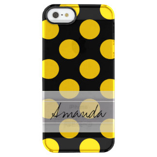 Monogram Black Yellow Chic Polka Dot Pattern Clear iPhone SE/5/5s Case