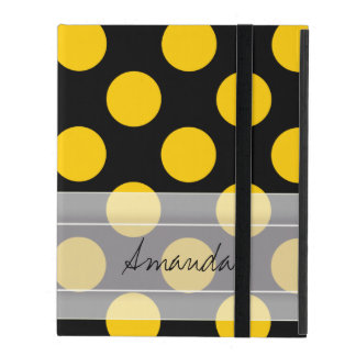 Monogram Black Yellow Chic Polka Dot Pattern iPad Folio Case