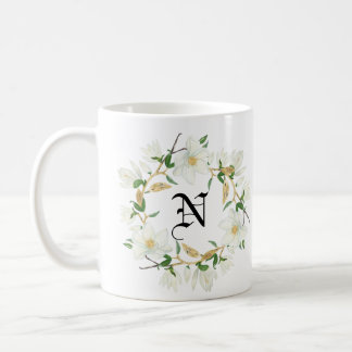 Monogram Blooming Magnolia watercolor Coffee Mug