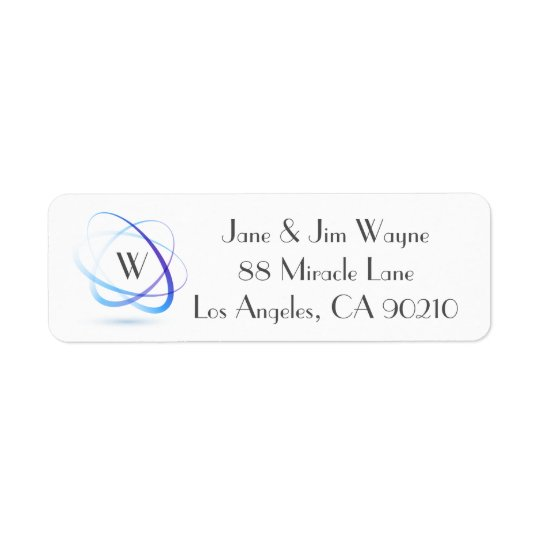 Monogram Blue Abstract Minimal Return Address 1 Return Address Label