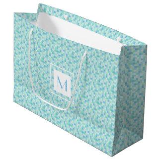 Monogram Blue and Aqua Blue Squares Large Gift Bag