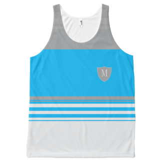 Monogram Blue and grey striped All-Over Print Singlet