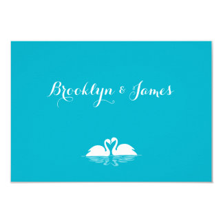 Monogram Blue And White Wedding RSVP Cards Swans 9 Cm X 13 Cm Invitation Card