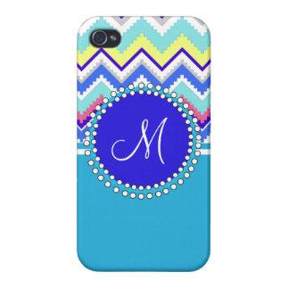 Monogram Blue Aztec Andes Chevron Zig Zags iPhone 4/4S Cover