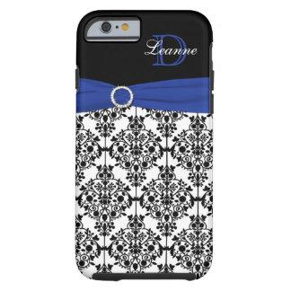 Monogram Blue Black White Damask iPhone 6 case