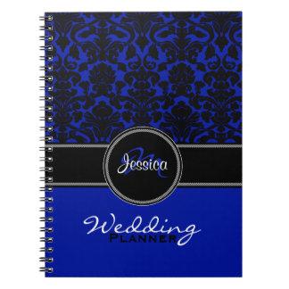 Monogram Blue Black White Damask Wedding Planner Spiral Note Book