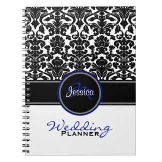 Monogram Blue Black White Damask Wedding Planner Notebooks