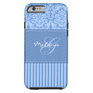 Monogram Blue Damask Stripe iPhone 6 case Vibe Cas