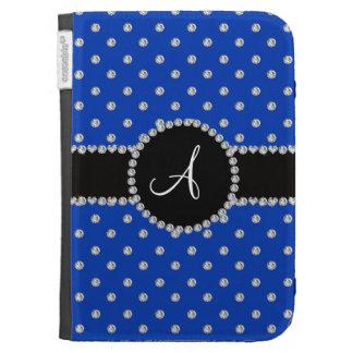Monogram blue diamonds polka dots cases for kindle