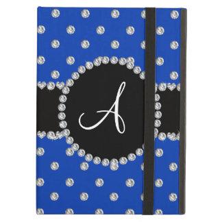 Monogram blue diamonds polka dots iPad air cover