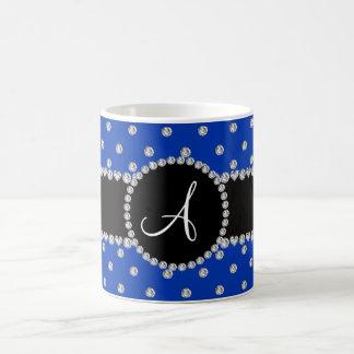 Monogram blue diamonds polka dots mug