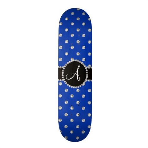 Monogram blue diamonds polka dots skate board