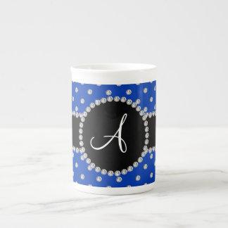 Monogram blue diamonds polka dots bone china mugs