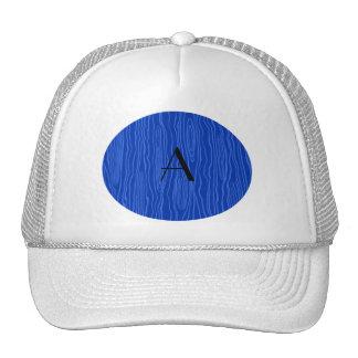 Monogram blue faux bois trucker hats