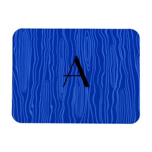 Monogram blue faux bois rectangular magnets
