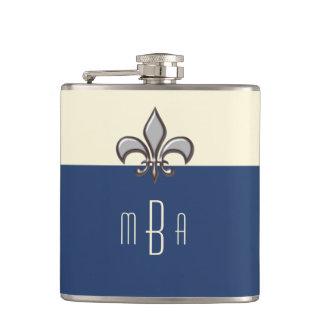 Monogram Blue Faux Metal Fleur de Lis Hip Flask