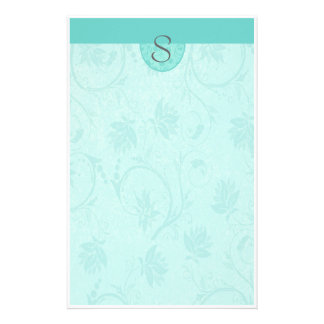 Monogram Blue Floral Personalized Stationery