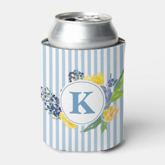 Monogram Blue Flowers and Stripe Can Cooler