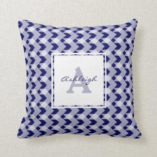 Monogram, blue gingham chevron, personalise w name throw pillow