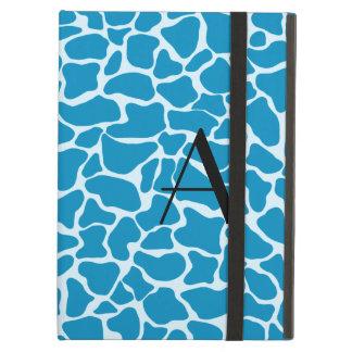 Monogram blue giraffe print cover for iPad air