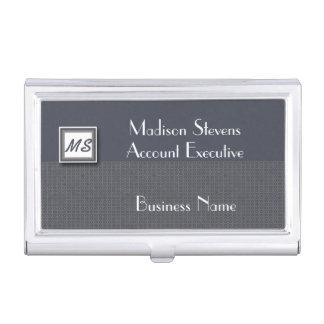 Monogram Blue, Gray Pattern Business Card Holder