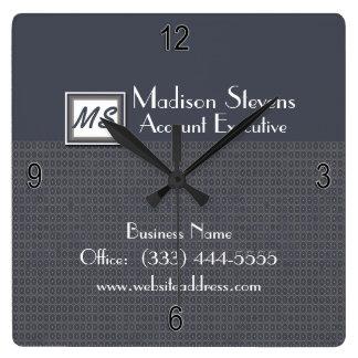 Monogram Blue, Gray Pattern Wall Clock