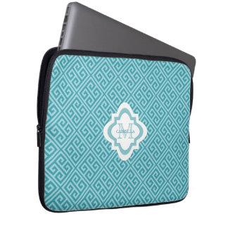Monogram Blue Greek Key Pattern Laptop Sleeve