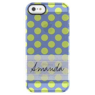 Monogram Blue Green Cute Chic Polka Dot Pattern Clear iPhone SE/5/5s Case