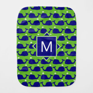 Monogram   Blue & Green Whales Burp Cloth