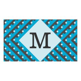 Monogram Blue Grid Customizable Business Card Templates