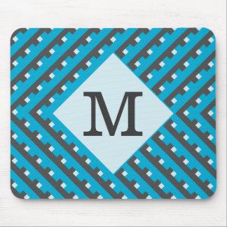 Monogram Blue Grid Customizable Mouse Pad