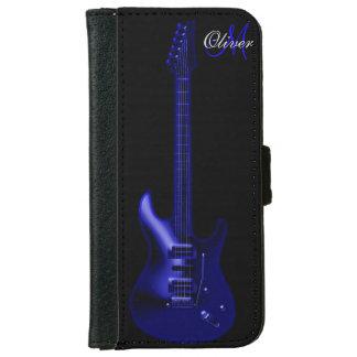 Monogram Blue Guitar Music Wallet iPhone 6 Case
