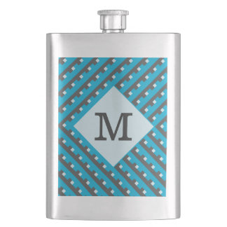 Monogram Blue Intersecting Lines Flask