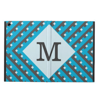 Monogram Blue Intersecting Lines iPad Air Cover