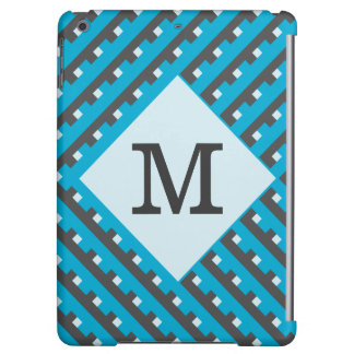 Monogram Blue Intersecting Lines iPad Air Covers