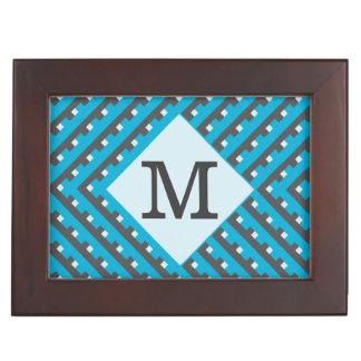 Monogram Blue Intersecting Lines Keepsake Box