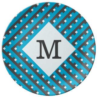 Monogram Blue Intersecting Lines Porcelain Plate