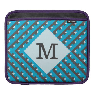 Monogram Blue Intersecting Lines Sleeve For iPads