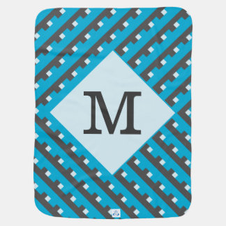 Monogram Blue Intersecting Lines Swaddle Blanket
