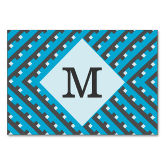 Monogram Blue Intersecting Lines Table Cards