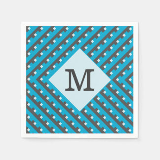 Monogram Blue Intersecting Lines Disposable Napkins
