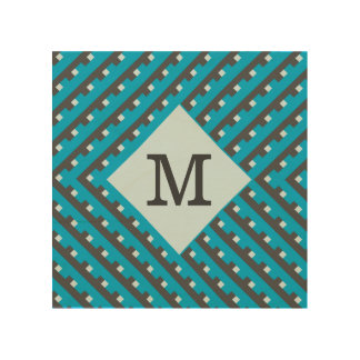 Monogram Blue Intersecting Lines Wood Canvas