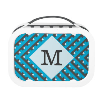 Monogram Blue Intersecting Lines Yubo Lunchboxes