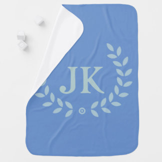 Monogram blue leave wreath baby blanket