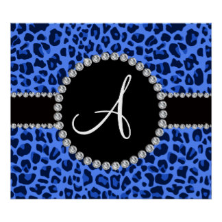 Monogram blue leopard circle posters