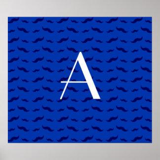 Monogram blue mustache pattern poster