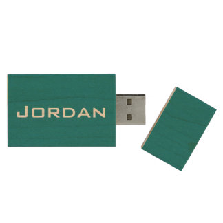 Monogram Blue Name Wood USB Flash Drive