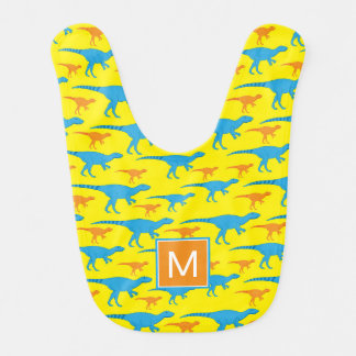 Monogram |  Blue Orange Yellow Dinosaurs Bib